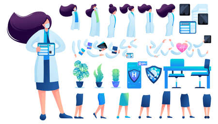 Constructor for creating a doctor women. Create your own character with a Set of hands and feet. Flat 2D vector illustration N10.
