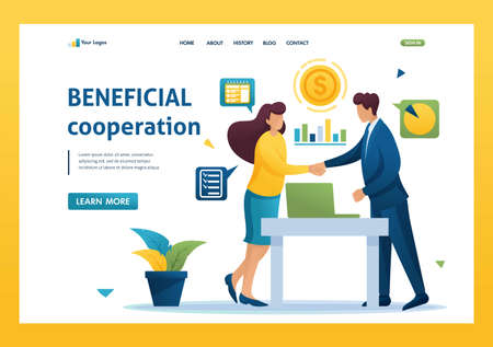 Partners have reached a profitable cooperation, business partnership. Flat 2D landing page.