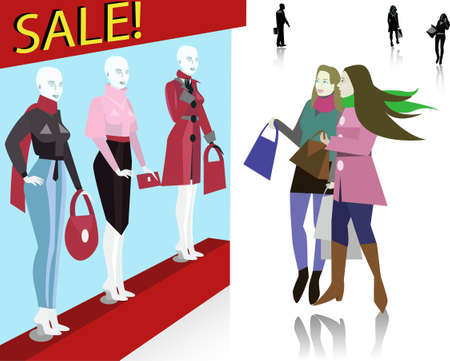 Twee winkel shopaholic meisjes te kijken naar de mode etalage. Fall winkelen.