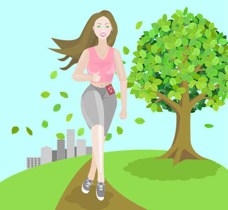 stylistic: Stylistic illustration of a girl jogging in a big city park, with the city skyline visible in the background Illustration