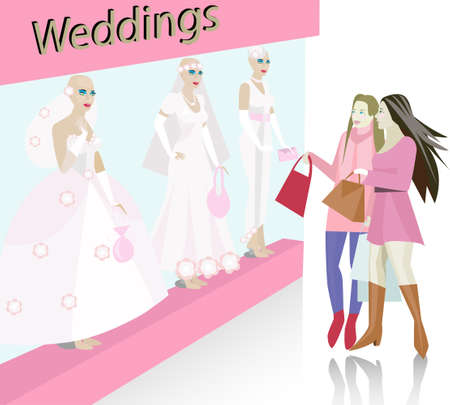 Shop window with wedding dresses on mannequins Stock Vector - 10935975