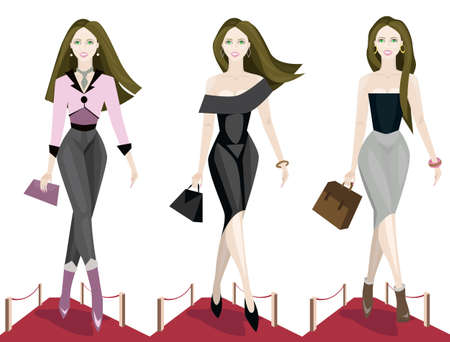vogue: illustration of three fashion models on the catwalk.