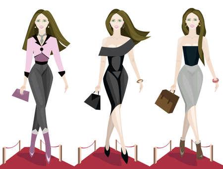 high fashion model: Ilustraci�n de tres modelos de moda en la pasarela.