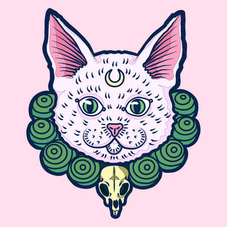 Crazy hand drawn white cat with pink nose and golden moon on a forehead wearing the green pearls with mouse scull. Vector isolated illustration on a pink background.