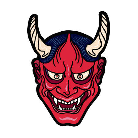 Hand drawn Japanese hannya demon red theater betrayed woman mask with eyes and mouth wide open, sharp teeth and dark hair. Vector isolated illustration on a light background.