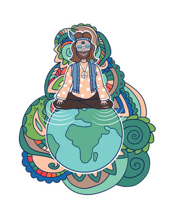 Vector hand drawn isolated illustration of hippie with third eye open and a sitting bird spreading positive vibes on earth, colorful abstract background. 矢量图像