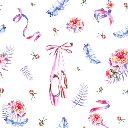 Seamless pattern with watercolor hand painted ribbons, feathers, pointes, peonies, twigs. Female tender backdrop perfect for fabric textile or wrapping paper. Stock Photo