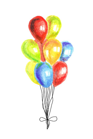 Watercolor illustration. Hnd-painted bright balloons on white background Banque d'images - 123121247