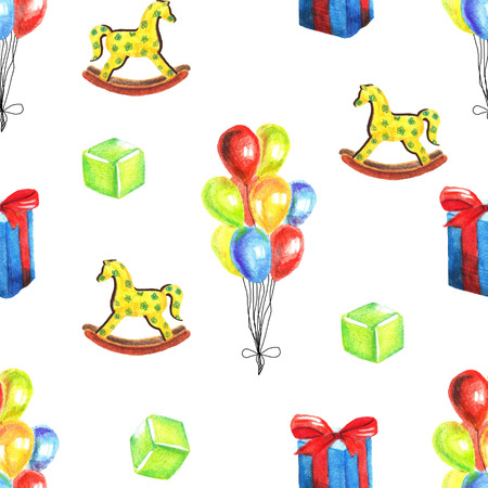 Watercolor hand-painted seamless pattern with retro toys on white background