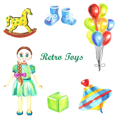 Watercolor hand-painted set of retro toys on white background