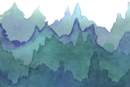 Watercolor hand-painted background illustration. Watercolor gradient forest on a white background