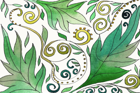 Watercolor hand-painted background illustration. Watercolor leaves on white background
