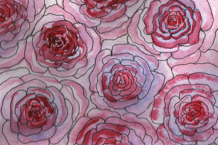 Watercolor hand-painted background illustration. Watercolor pink-red blurry roses