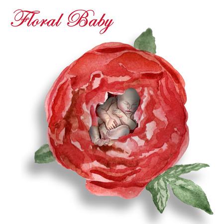 Watercolor newborn baby sleeps in the flower Archivio Fotografico - 123580510