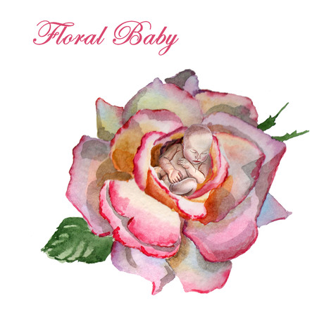 Watercolor newborn baby sleeps in the flower Archivio Fotografico - 123580516