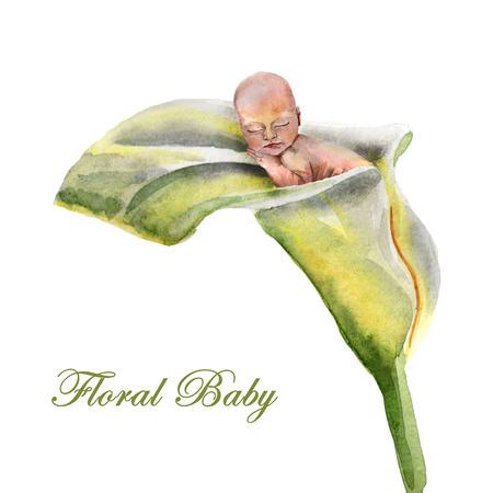 Watercolor newborn baby sleeps in the flower Archivio Fotografico - 123580520