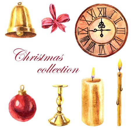 Watercolor collection of Christmas objects: candles, clock and baubles on a white background Zdjęcie Seryjne