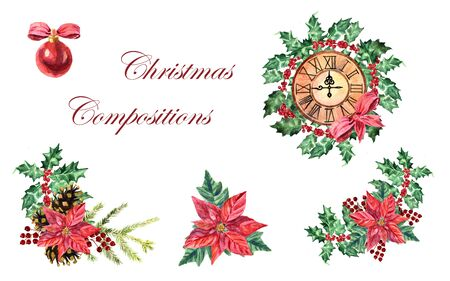 Watercolor collection of Christmas compositions with plants, clocks and baubles on a white background Zdjęcie Seryjne - 130906180