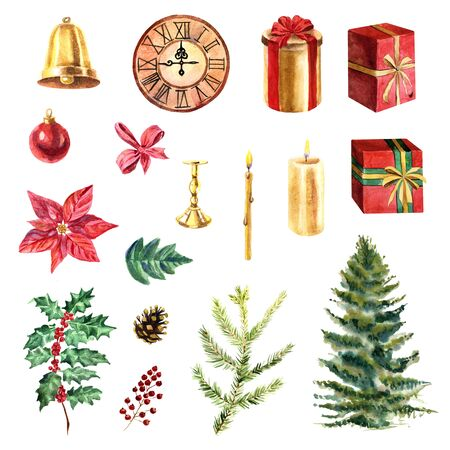 Watercolor collection of Christmas objects: candles, clock, gifts, baubles and plants on a white background Zdjęcie Seryjne