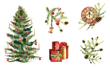 Watercolor collection of Christmas compositions with plants, clocks and baubles on a white background Zdjęcie Seryjne