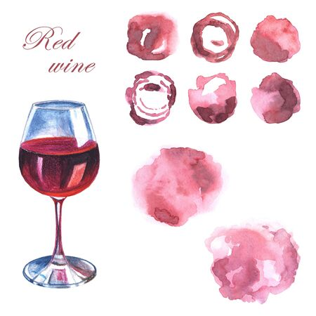 A glass of red wine and abstract hand drawn pink watercolor spots look like wine spots on a white background Stock Photo