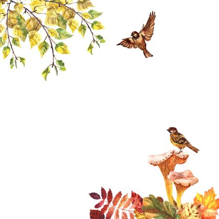 Watercolor autumn frame with leaves, sparrows and mushrooms isolated on a white background Stockfoto