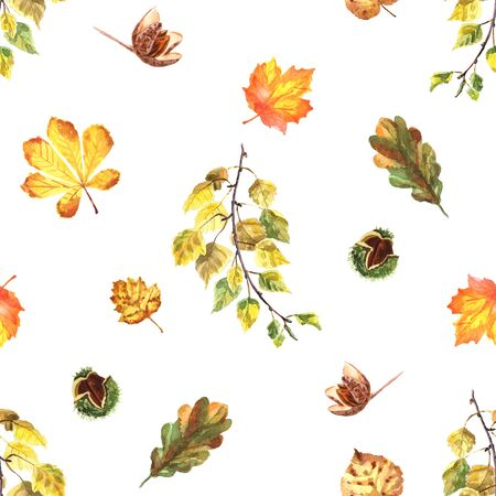 Watercolor hand-painted autumn seamless pattern with leaves and nuts isolated on a white background Imagens - 133204781