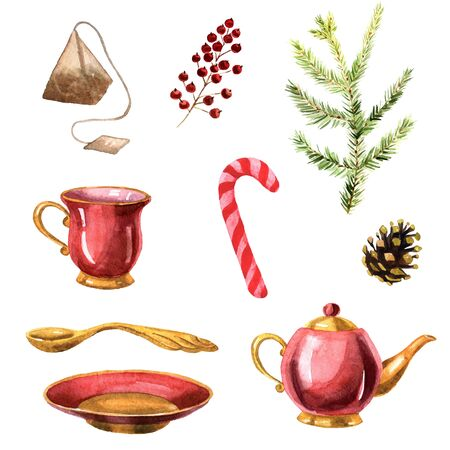 Watercolor hand-drawn tea set with teapot, teacup, saucer, teaspoon, tea bag, red candy and christmas plants. The set isolated on a white background and inspired by christmas hollidays.