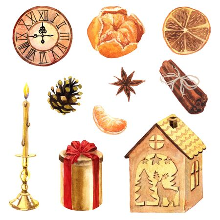 Watercolor hand-drawn home set with clock, candle, wooden lamp, pine cone, mandarin and cinnamon . The set isolated on a white background and inspired by home cosiness.