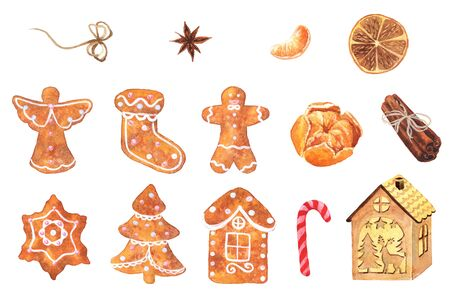 Watercolor hand-drawn ginger cookie and spice inspired by holiday season. Christmas collection. Cute holiday bakery isolated on a white background