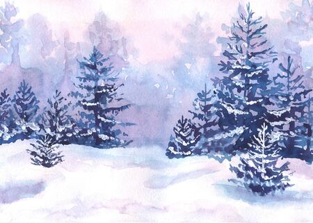 Watercolor winter forest landscape with snowy fir-trees. The landscape is painted in lilac, pink and blue colors.