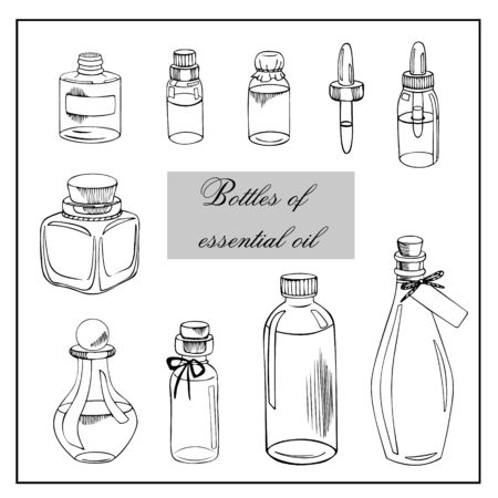 Vector sketch set with bottles of essential oils isolated on a white background. Hand drawn collection of graceful bottles.