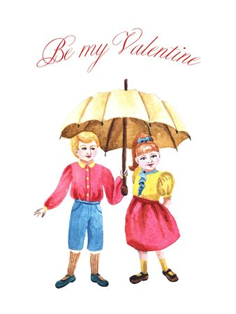 Watercolor sweet couple with umbrella. Kids in love for Valentine's day. Cute isolated illustration.