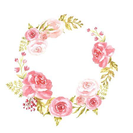 Aquarell eleganter Kreis rosa Rahmen mit Blumen auf weißem Hintergrund