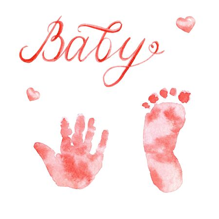 Watercolor cute nursery lettering: Baby and footprints isolated on white background Archivio Fotografico