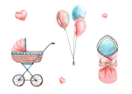 Watercolor cute set with baby stuff isolated on white background