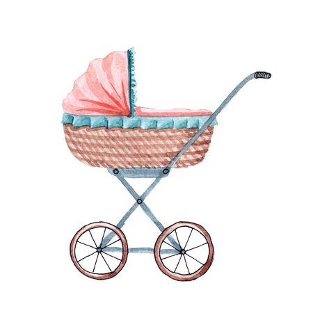 Watercolor cute baby carriage isolated on white background Archivio Fotografico