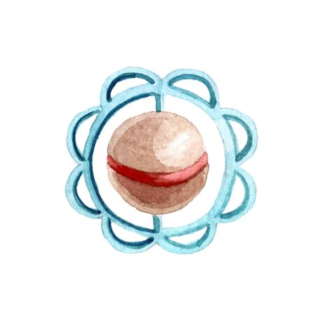 Watercolor cute baby rattle isolated on white background