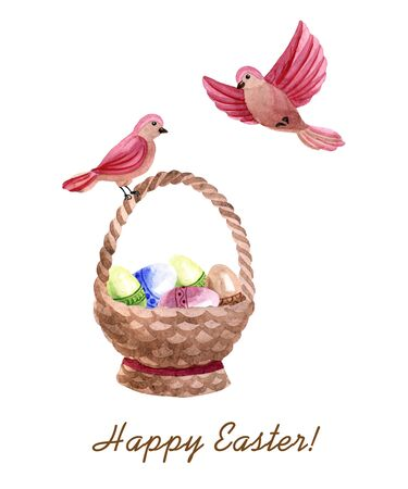 Watercolor spring Easter composition witn birds and wooden basket with eggs isolated on a white background