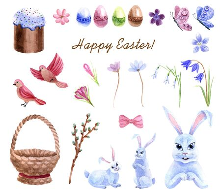Watercolor spring Easter set with bunny, wooden basket, Easter cake and eggs isolated on a white background
