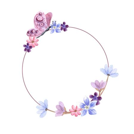 Watercolor circle frame with spring flowers and butterfly isolated on a white background