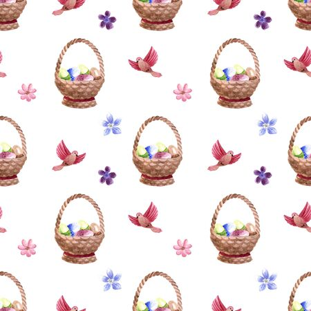 Watercolor spring Easter seamless pattern with birds, flowers and wooden basket with eggs isolated on a white background Archivio Fotografico
