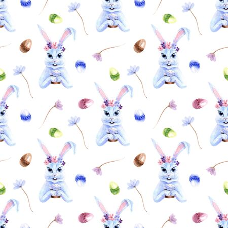 Watercolor spring Easter seamless pattern with bunny, flowers and eggs isolated on a white background