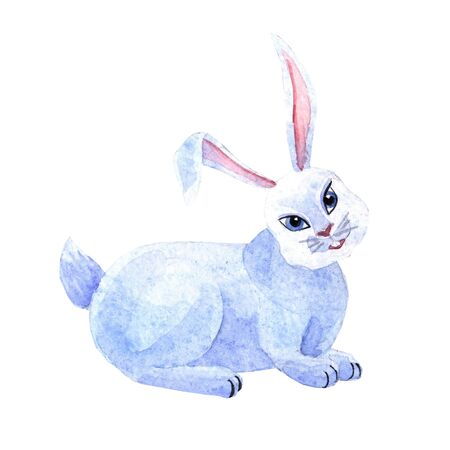 Watercolor cute bunny isolated on a white background. The kid's illustration