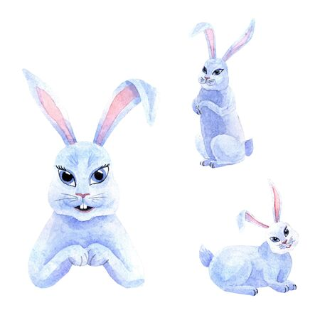 Watercolor cute bunnies isolated on a white background. The kid's illustration