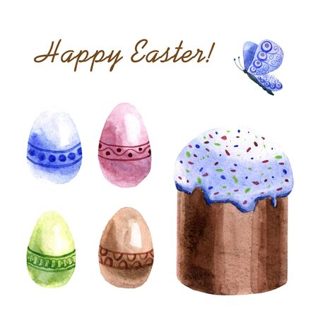 Watercolor Easter cake and Easter eggs isolated on a white background