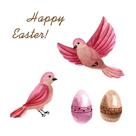Watercolor cute pink birds with Easter eggs isolated on a white background