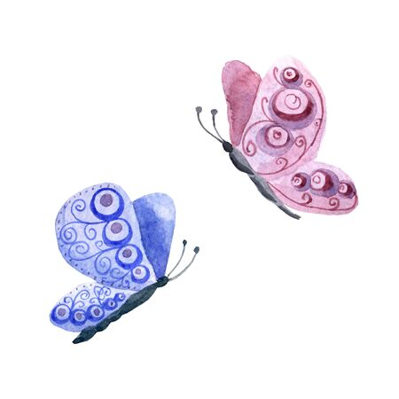 Watercolor cute butterflies isolated on a white background