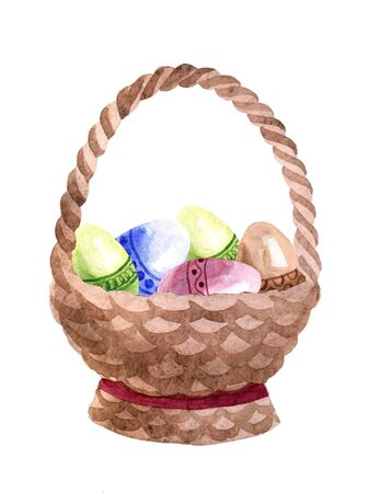 Watercolor wooden basket with Easter eggs isolated on a white background