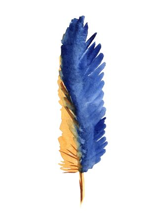Watercolor bright tropical feather isolated on a white background Archivio Fotografico